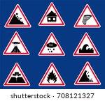 natural disaster set in vector   Shutterstock .eps vector #708121327