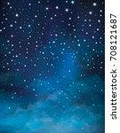 vector starry night sky...   Shutterstock .eps vector #708121687