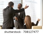 Small photo of Ambitious african american male candidate insisting on getting a job, male and female caucasian recruiters asking quarrelsome applicant to leave office. Failed interview, conflict at work or dismissal