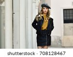 blonde russian woman in urban... | Shutterstock . vector #708128467