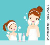 mother and daughter cleaning... | Shutterstock .eps vector #708129373