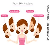 girl with facial skin problems  ... | Shutterstock .eps vector #708129403