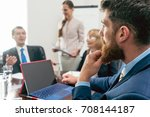 side view of a pensive business ... | Shutterstock . vector #708144187