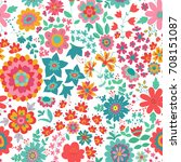 vector flower pattern. colorful ... | Shutterstock .eps vector #708151087