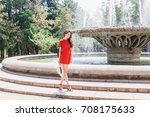 young stylish woman wearing red ...   Shutterstock . vector #708175633