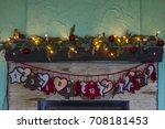 advent calendar hanging on... | Shutterstock . vector #708181453