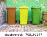 three wheelie bins in three... | Shutterstock . vector #708191197