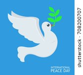 white peace dove with olive... | Shutterstock .eps vector #708200707