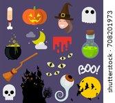 flat design vector halloween... | Shutterstock .eps vector #708201973