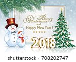 2018 christmas card with a... | Shutterstock .eps vector #708202747