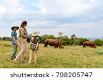 back view of family on safari... | Shutterstock . vector #708205747