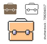 pixel icon of briefcase in... | Shutterstock .eps vector #708206017