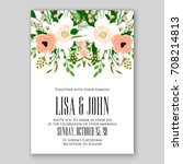 invitation template of wedding... | Shutterstock .eps vector #708214813