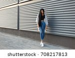 fashionable beautiful young... | Shutterstock . vector #708217813