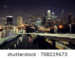 philadelphia skyline at night... | Shutterstock . vector #708219673