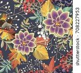 seamless autumn floral pattern   Shutterstock .eps vector #708227953