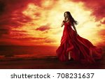 woman flying red dress  fashion ... | Shutterstock . vector #708231637