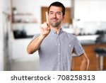 handsome man touching on... | Shutterstock . vector #708258313