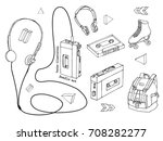 hand drawn doodle set of teen... | Shutterstock .eps vector #708282277