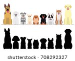 Stock vector smiling dogs border set 708292327