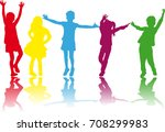 vector silhouette of children... | Shutterstock .eps vector #708299983