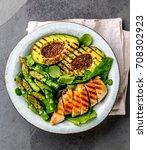 healthy grilled chicken ... | Shutterstock . vector #708302923