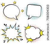 retro comic bubbles and... | Shutterstock .eps vector #708304303