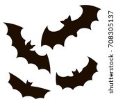 halloween black bat icon set.... | Shutterstock .eps vector #708305137