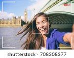 selfie portrait travel woman... | Shutterstock . vector #708308377