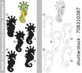 funny seahorse mom and her baby ... | Shutterstock .eps vector #708310387