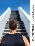 runner going up stairs running... | Shutterstock . vector #708321283