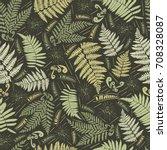 fern seamless pattern. leaves...   Shutterstock .eps vector #708328087