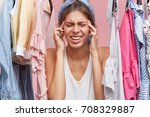 stressful female going to cry... | Shutterstock . vector #708329887