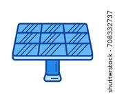 solar panel vector line icon... | Shutterstock .eps vector #708332737