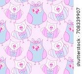 pattern doodle owl vector    Shutterstock .eps vector #708339907