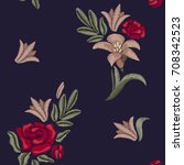 embroidered lilies and roses.... | Shutterstock .eps vector #708342523