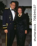 Small photo of Washington, DC. USA, 20Th February, 1991 Chairman of the Joint Chiefs of Staff General Colin Powell (USA)and his wife Alma arrive at the White House for State Dinner in Honor of Queen Margrethe II