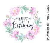 watercolor floral wreath... | Shutterstock . vector #708346333