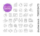 outline icon set. vector... | Shutterstock .eps vector #708353473