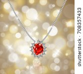 golden necklace with ruby and... | Shutterstock .eps vector #708357433
