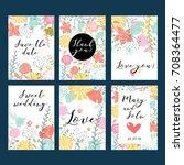 vector gentle wedding cards...   Shutterstock .eps vector #708364477