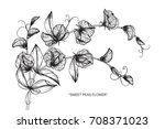 hand drawn and sketch sweet... | Shutterstock .eps vector #708371023