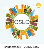 oslo skyline with color... | Shutterstock .eps vector #708376357