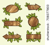 wooden signs with leaves | Shutterstock .eps vector #708377803