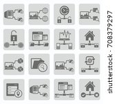 database and network icon set... | Shutterstock .eps vector #708379297