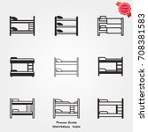 bunk bed icons vector | Shutterstock .eps vector #708381583