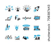 business and startup icons set... | Shutterstock .eps vector #708387643