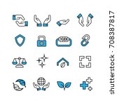 protection and hands icons set... | Shutterstock .eps vector #708387817