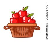 basket with apples on a white... | Shutterstock .eps vector #708391777