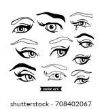 woman eyes isolated on white.... | Shutterstock .eps vector #708402067